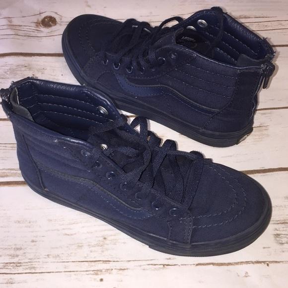 ffa7ad2b123c96 Little Boy Sk8-Hi Zip Mono Boys Navy Blue Vans. M 5b1402bffe5151afa9e19060